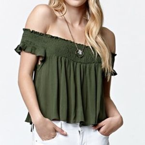 LA Hearts Smocked Off Shoulder Crop Top
